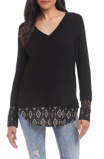 Karen Kane Sweaters CONTRAST HEM SWEATER