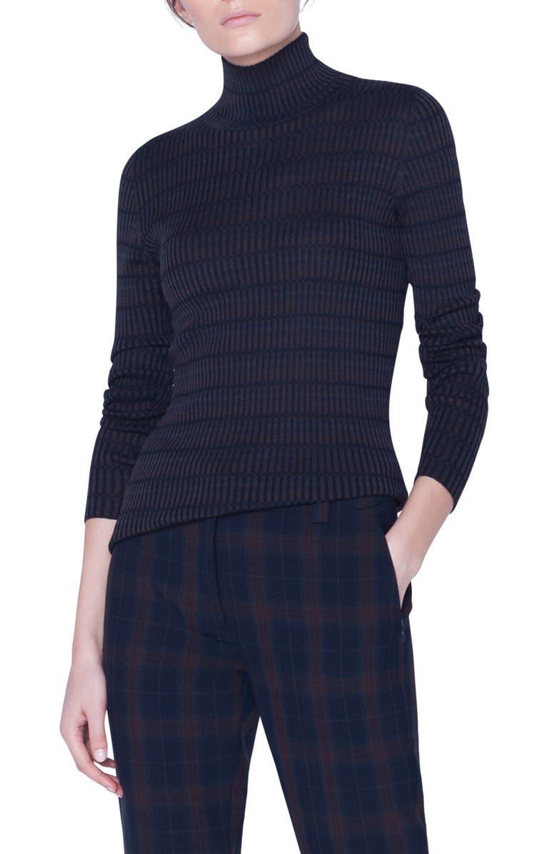 AKRIS Check Rib Silk Sweater, Main, color, NAVY-BARK-BLACK