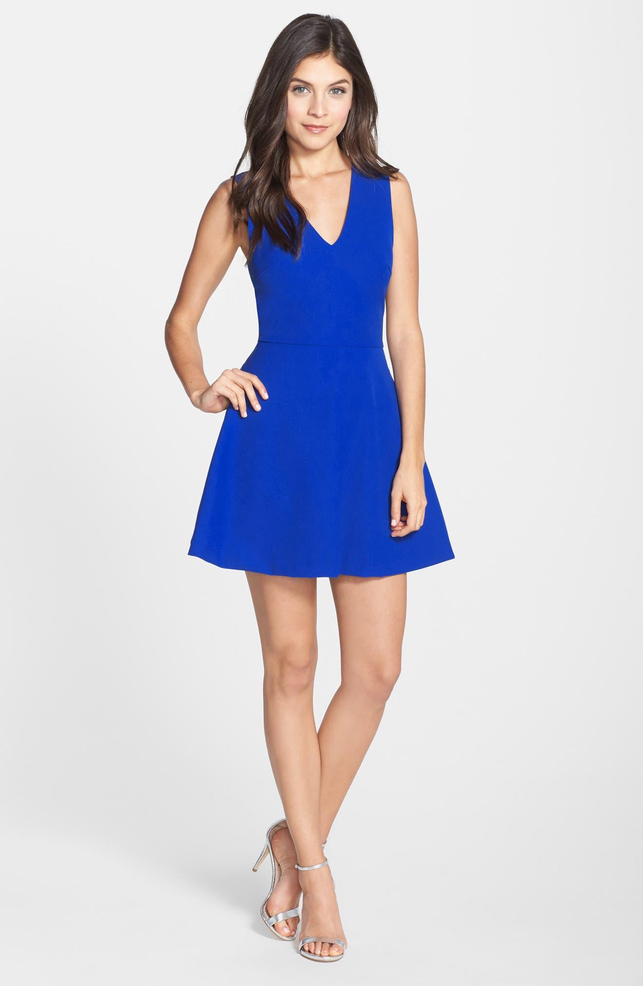 ,                             Bianca Back Cutout Fit & Flare Dress,                             Alternate thumbnail 22, color,                             424