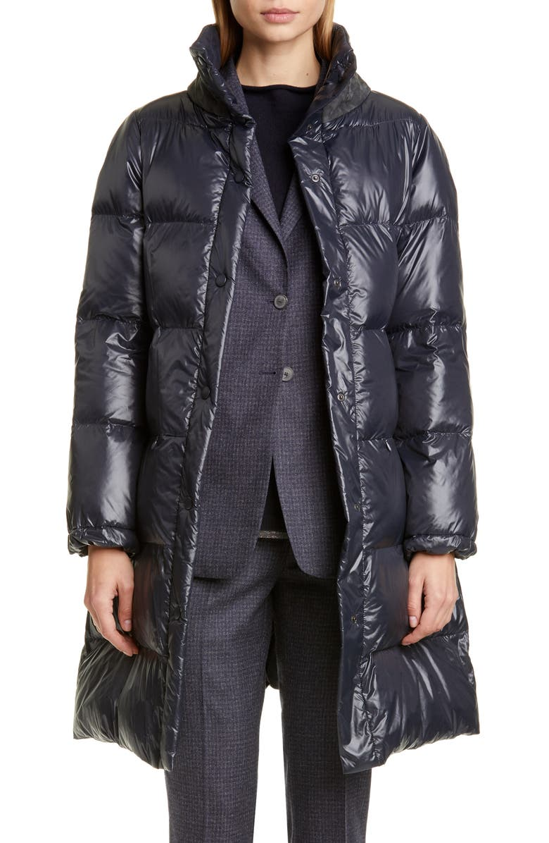 FABIANA FILIPPI Suede Collar Quilted Puffer Coat, Main, color, NAVY