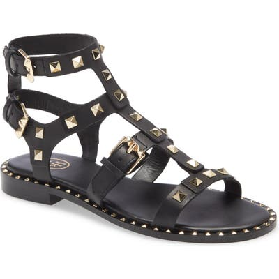 Ash Pacific Studded Strappy Sandal, Black