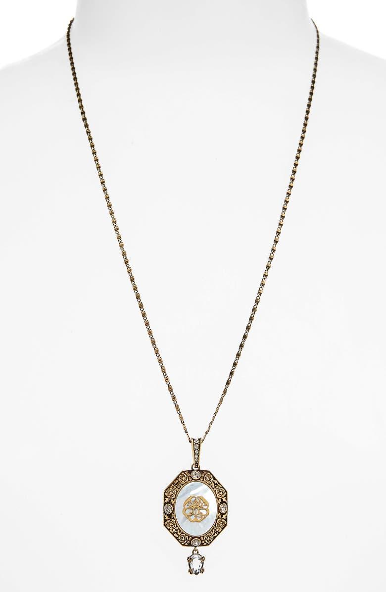 ALEXANDER MCQUEEN Signature Medallion Pendant Necklace, Main, color, 710
