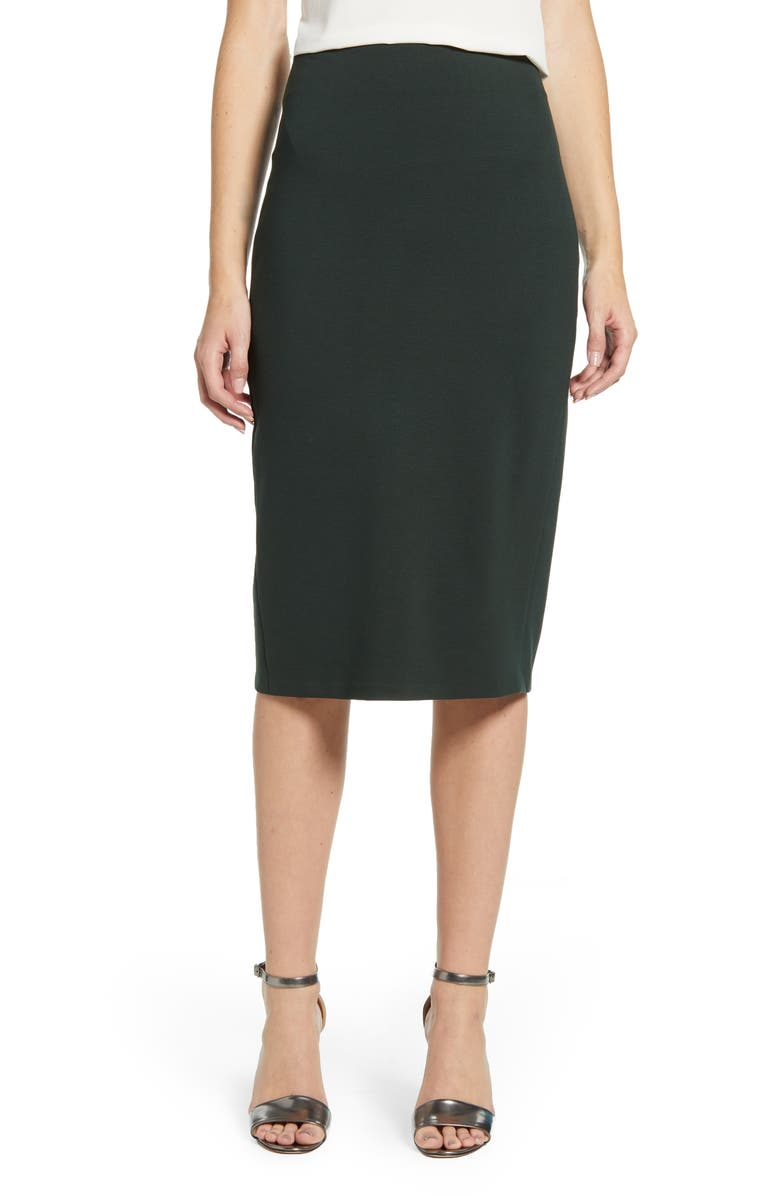 VINCE CAMUTO Ponte Midi Skirt, Main, color, DK WILLOW