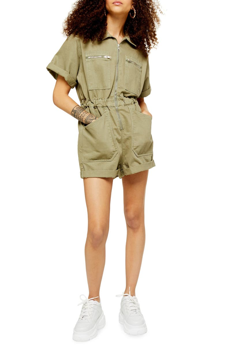 TOPSHOP Utility Zip Denim Romper, Main, color, OLIVE