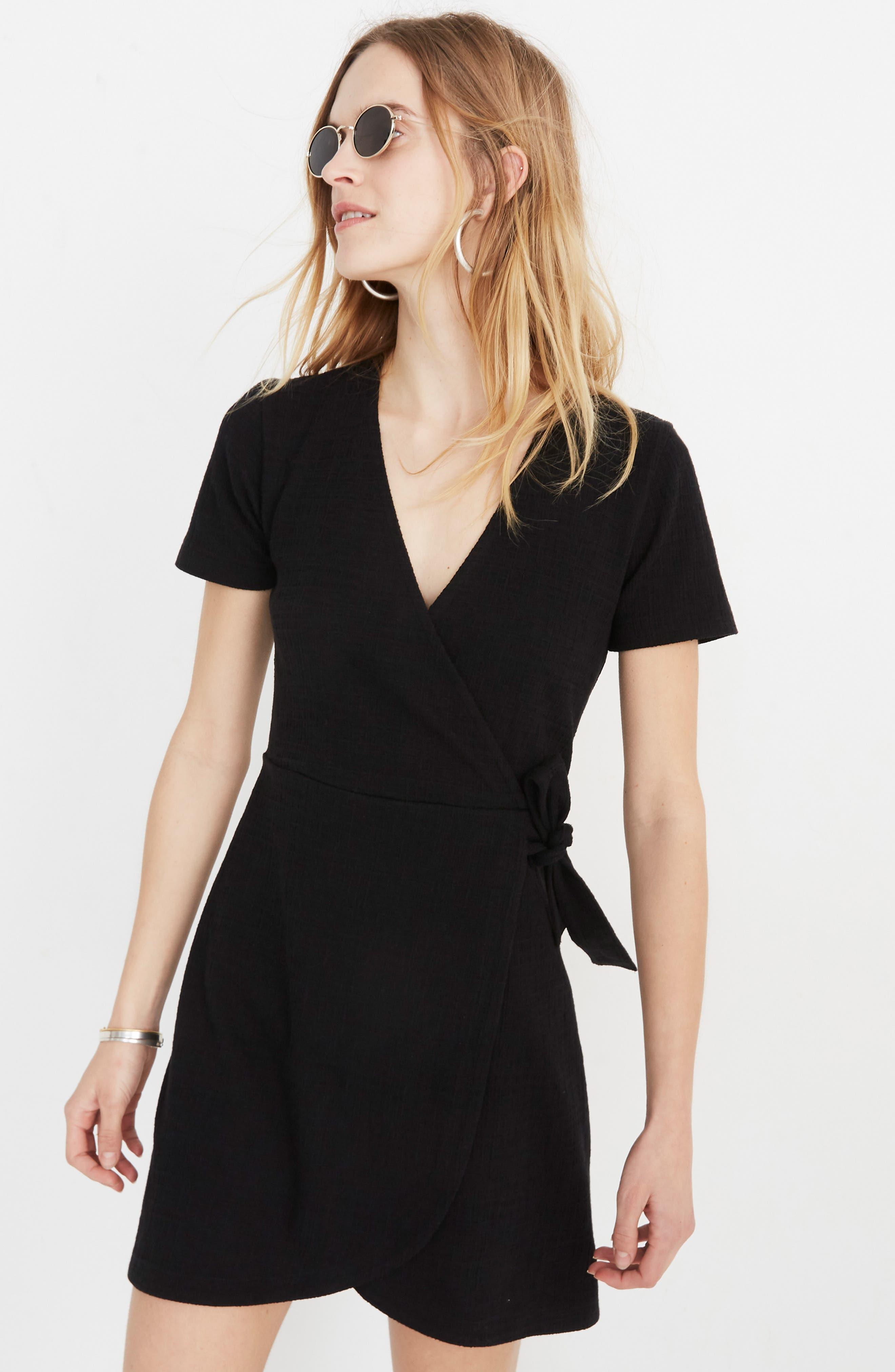,                             Texture & Thread Short Sleeve Side Tie Dress,                             Alternate thumbnail 6, color,                             TRUE BLACK