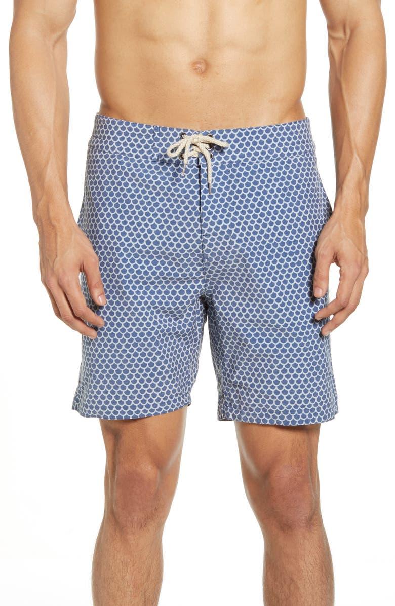 FAHERTY Scallop Print Board Shorts, Main, color, 410