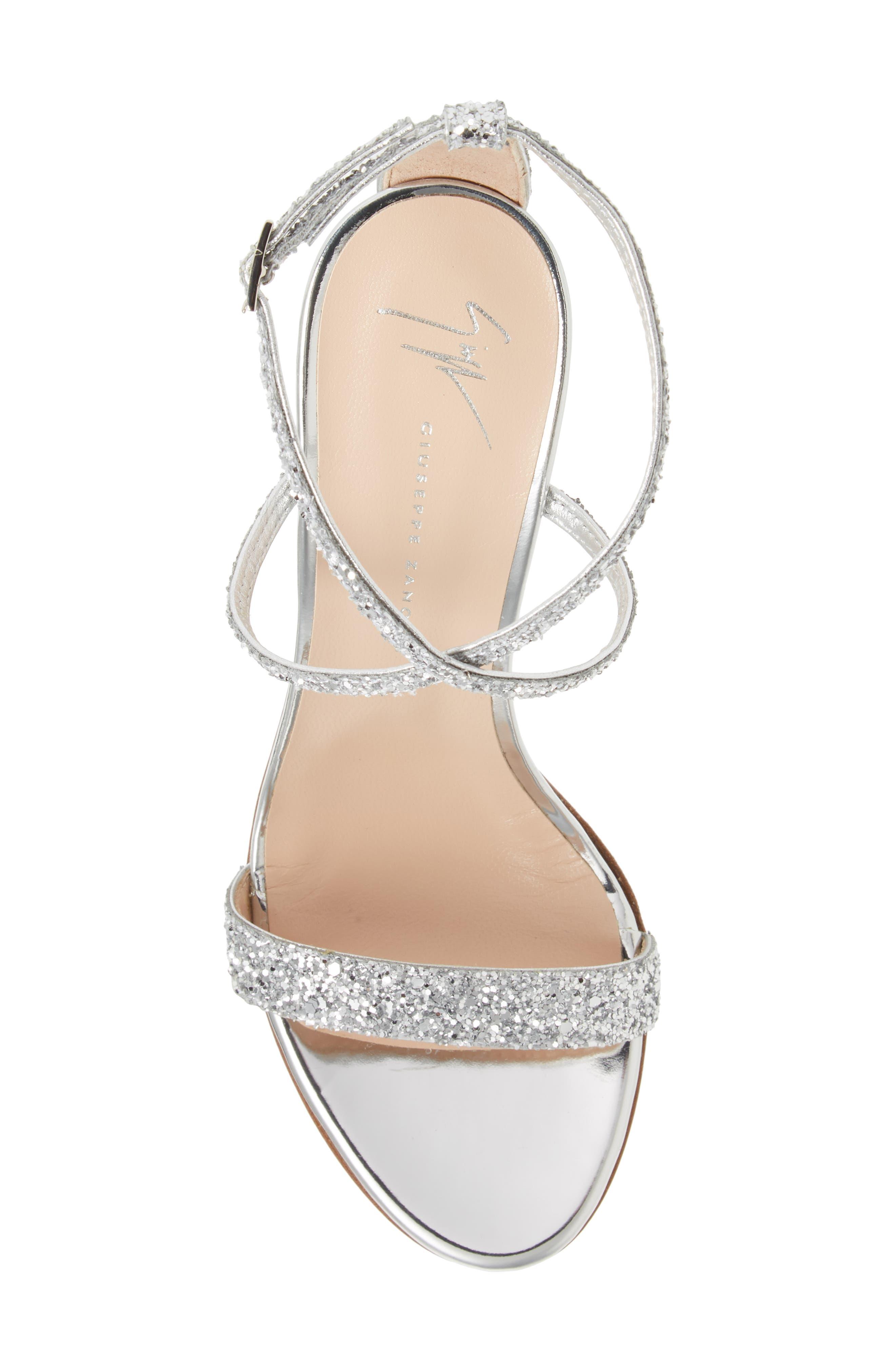 ,                             Glitter Heel Sandal,                             Alternate thumbnail 5, color,                             SILVER