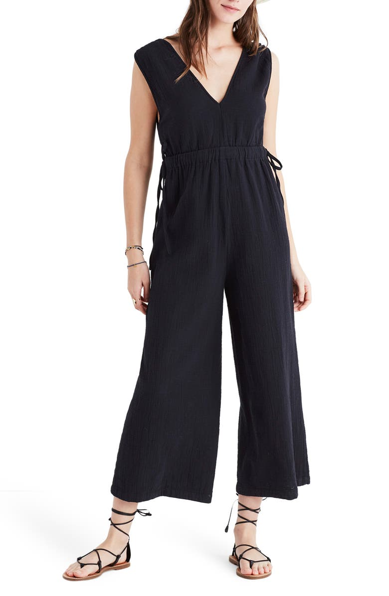 MADEWELL Waikiki Cover-Up Jumpsuit, Main, color, TRUE BLACK