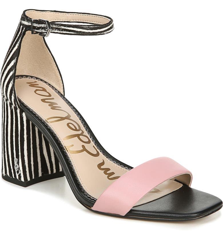 SAM EDELMAN Daniella Ankle Strap Genuine Calf Hair Sandal, Main, color, PINK BLACK-WHITE CALF HAIR