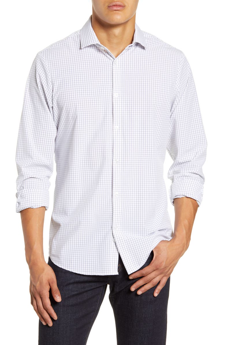 MIZZEN+MAIN Kennedy Trim Fit Windowpane Shirt, Main, color, NAVY GRID