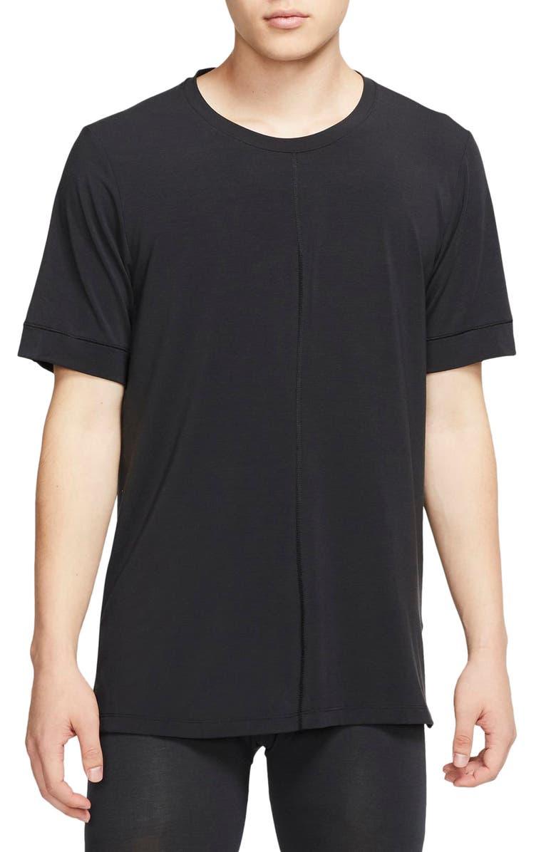 NIKE Dri-FIT Yoga T-Shirt, Main, color, BLACK/ BLACK