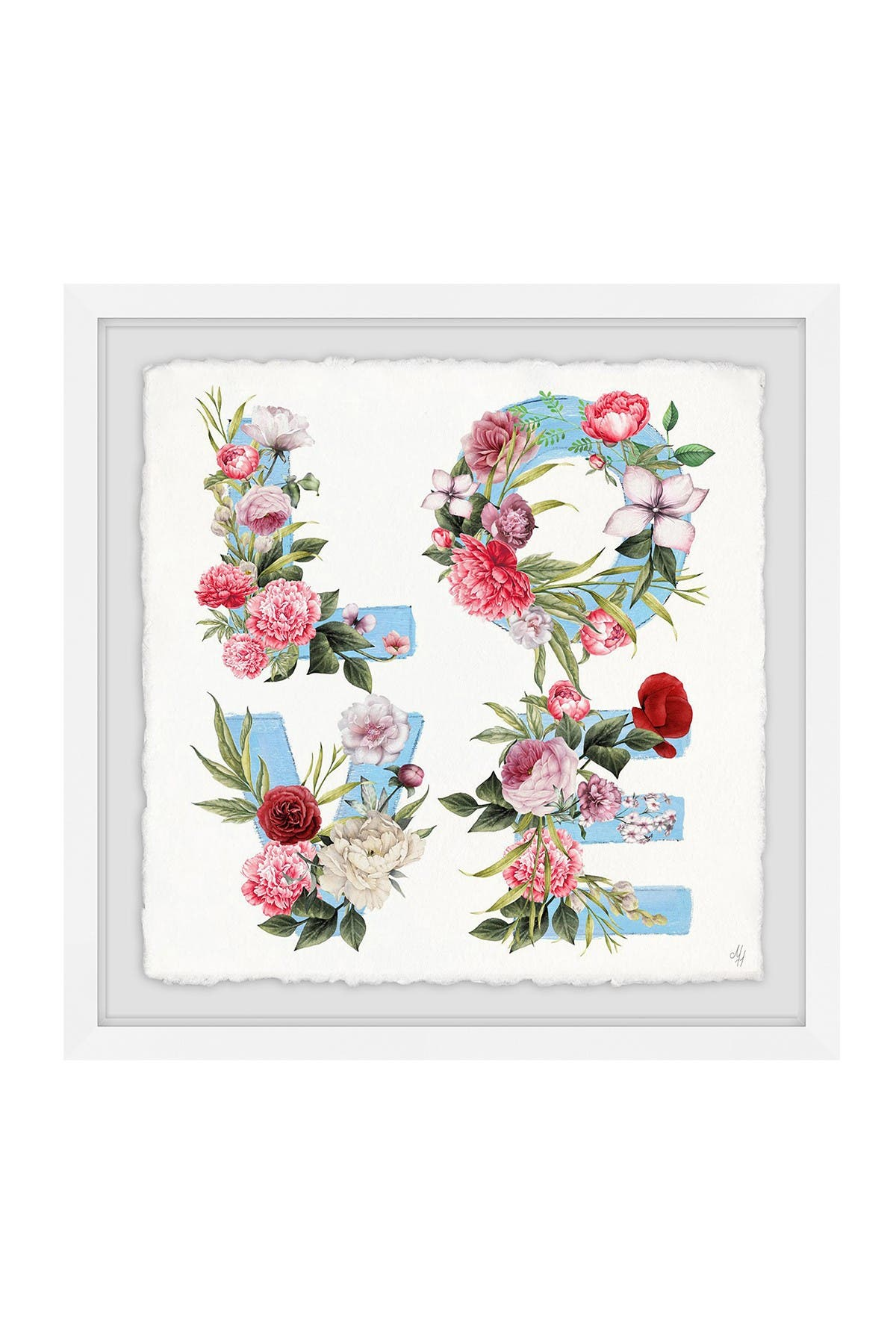 """Image of Marmont Hill Inc. Floral Love Framed Painting Print - 18""""x18"""""""