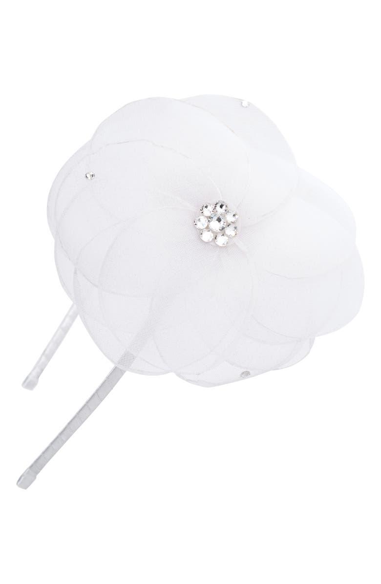 BARI LYNN Sheer Flower Headband, Main, color, WHITE
