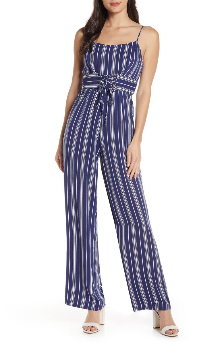BB DAKOTA Of Corset Is Stripe Jumpsuit, Main, color, VINTAGE BLUE