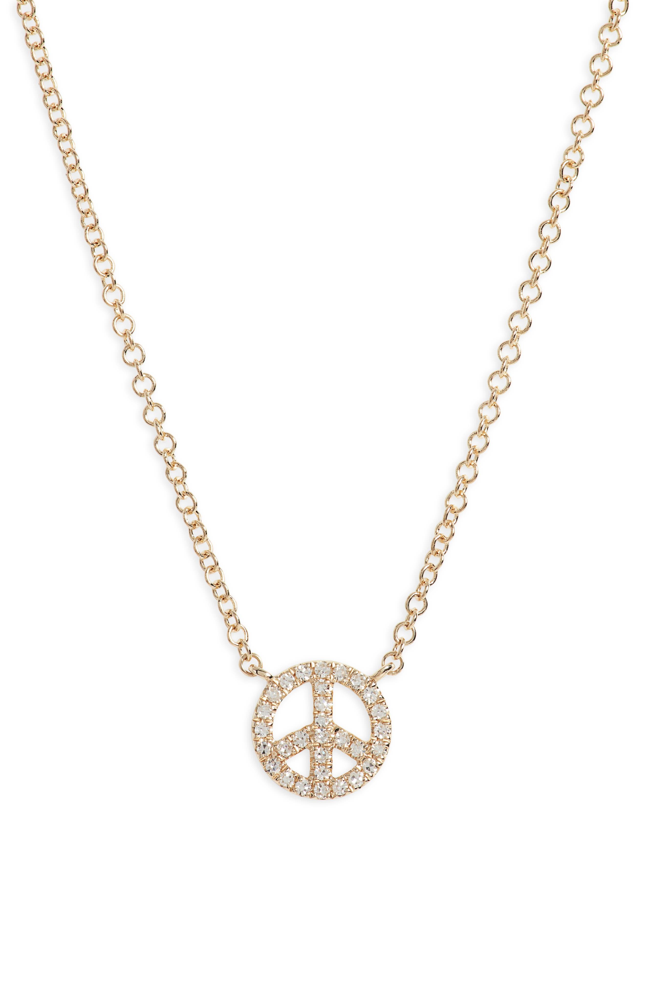 Diamond Mini Peace Pendant Necklace
