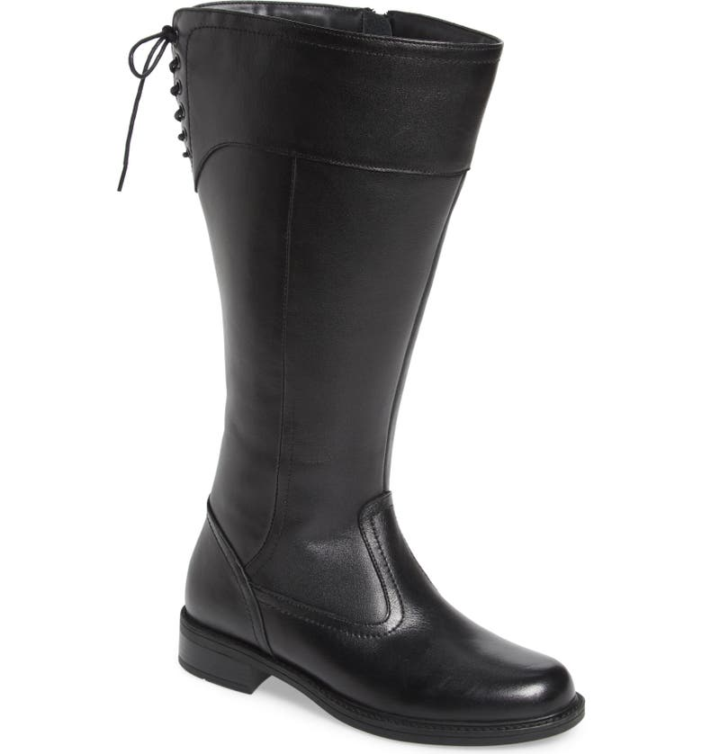 DAVID TATE Vermont Knee High Boot, Main, color, BLACK LEATHER