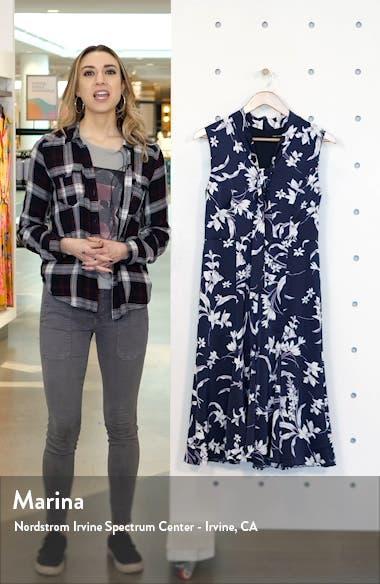 Floral Print Tie Neck Satin A-Line Dress, sales video thumbnail
