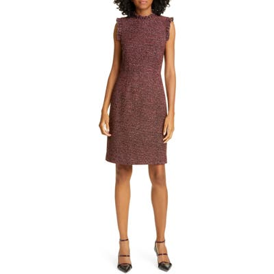 Tailored By Rebecca Taylor Tweed Knit Sheath Dress, Burgundy