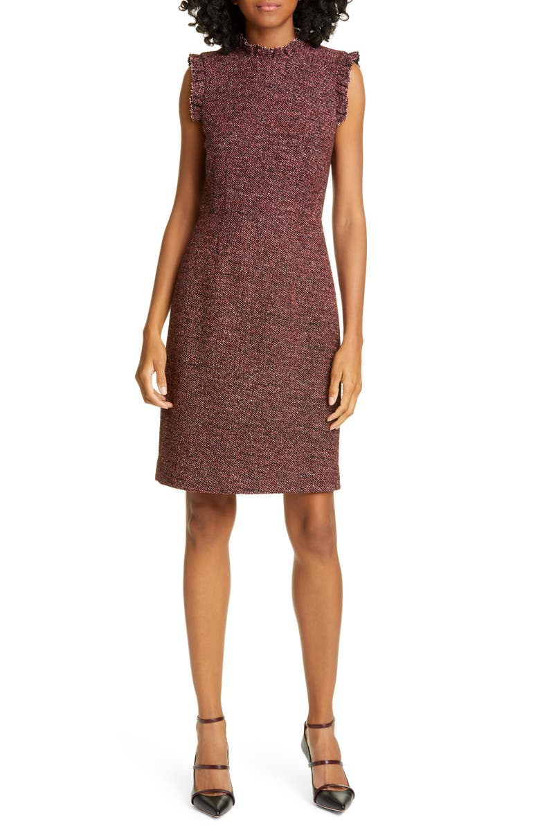 TAILORED BY REBECCA TAYLOR Tweed Knit Sheath Dress, Main, color, SUNSET COMBO