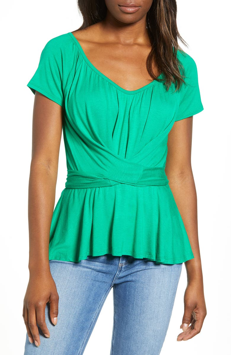 LOVEAPPELLA Wrap Tie Back Peplum Top, Main, color, KELLY GREEN