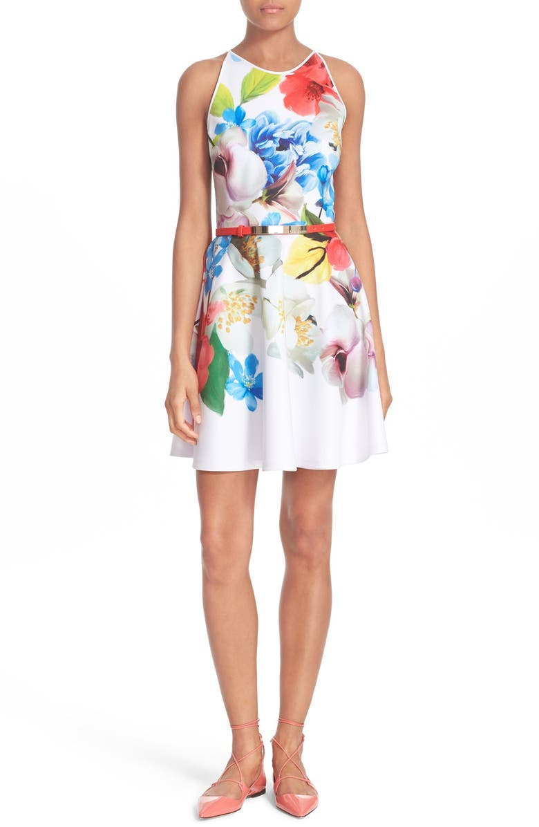 Ted Baker London Secil Floral Print Fit Flare Dress Nordstrom