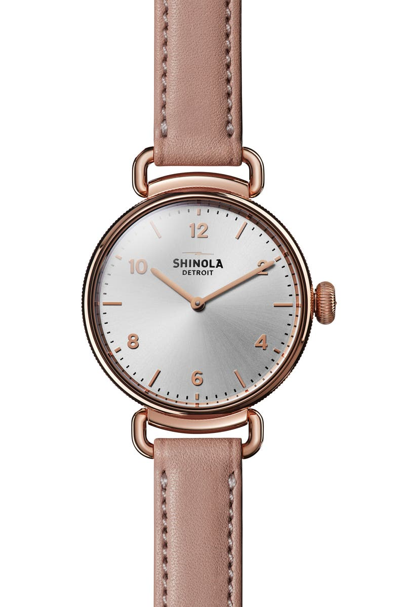 SHINOLA Canfield Leather Strap Watch, 32mm, Main, color, 650