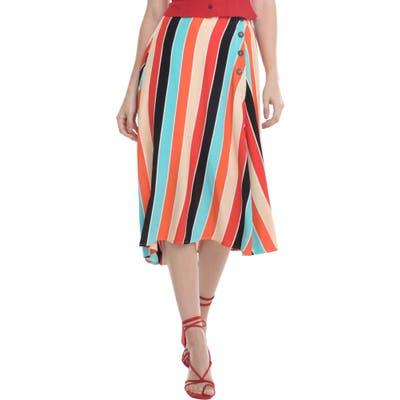 Astr The Label Monica Stripe Asymmetrical Skirt, Orange
