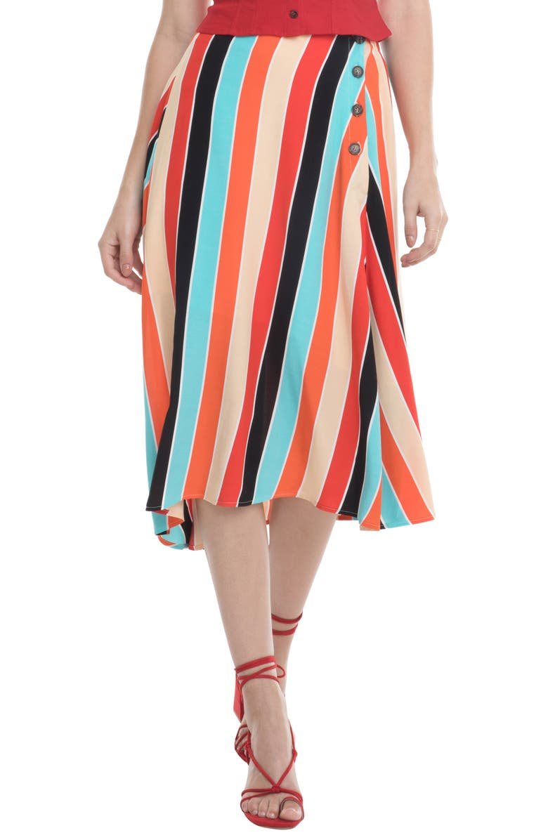 ASTR THE LABEL Monica Stripe Asymmetrical Skirt, Main, color, AQUA/ ORANGE STRIPE