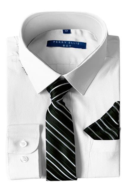 Image of Perry Ellis Dress Shirt, Tie & Pocket Square Set