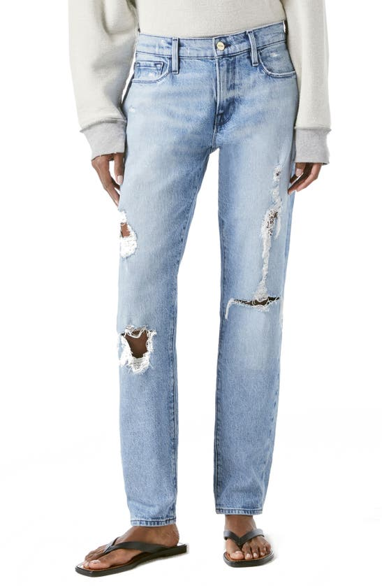 FRAME Jeans LE GARCON RIPPED STRAIGHT LEG JEANS
