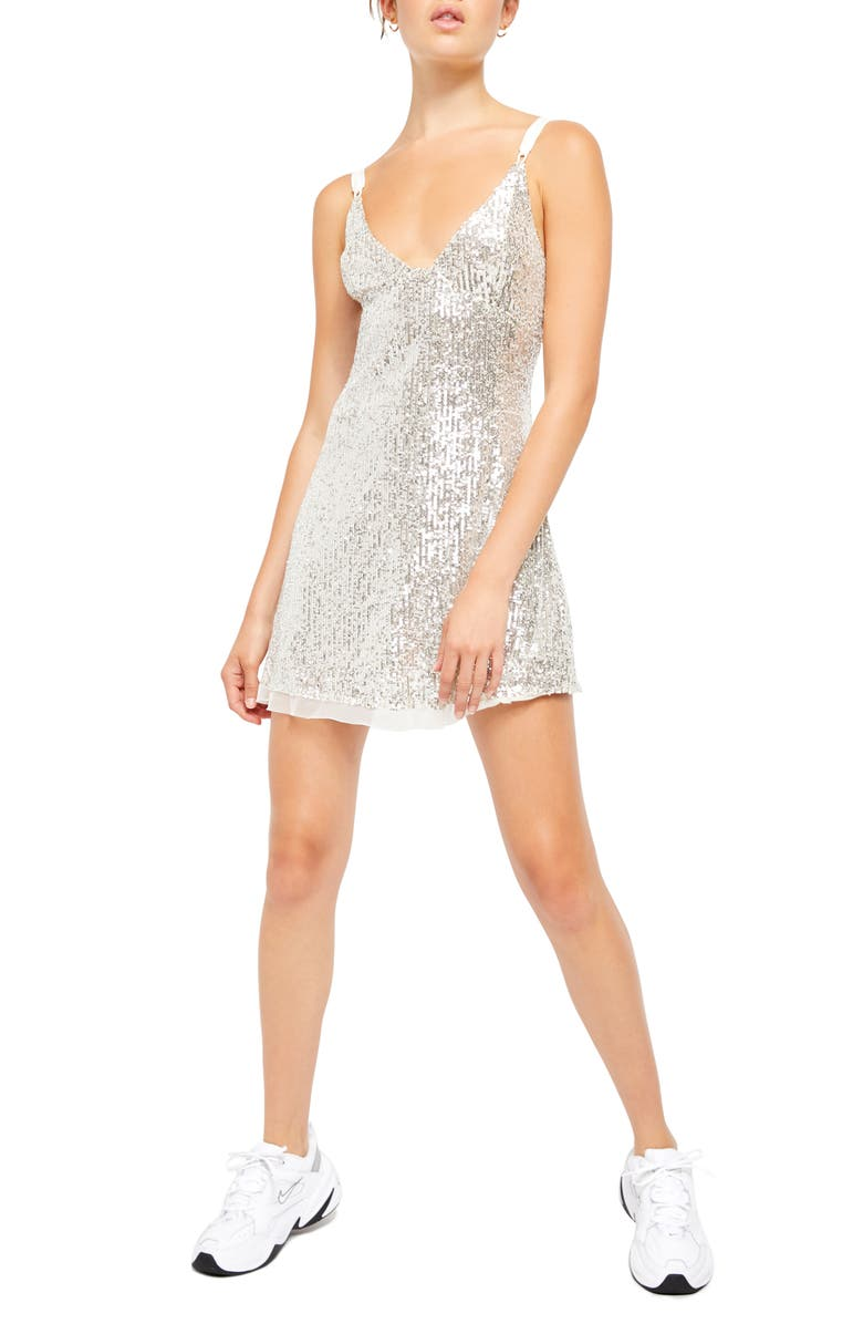 FREE PEOPLE Gold Rush Minidress, Main, color, ICICLE PEARL COMBO