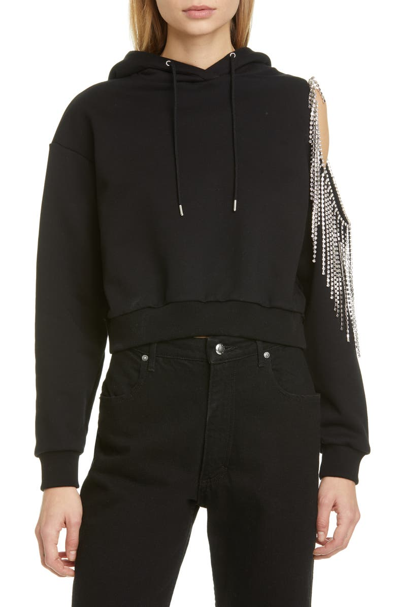 AREA Crystal Fringe French Terry Crop Hoodie, Main, color, BLACK