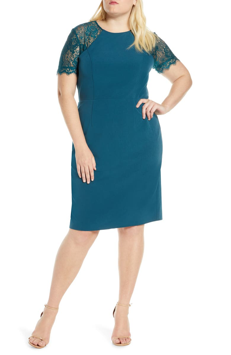 CHI CHI LONDON Curve Tia Crepe & Lace Cocktail Dress, Main, color, TEAL