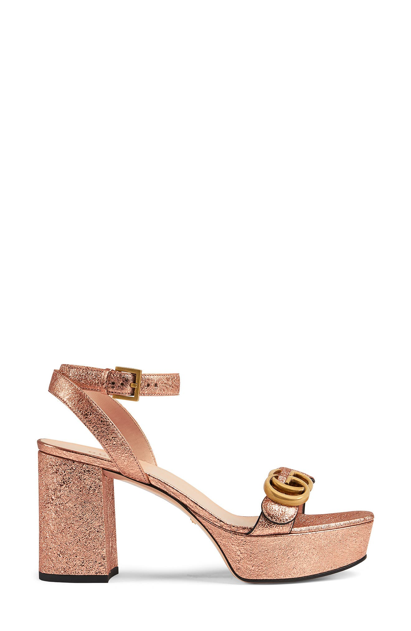 Pre-order this style today! Add to Shopping Bag to view approximate ship date. You\\\'ll be charged only when your item ships. Antiqued double-G hardware based on a \\\'70s archival design plays up the shimmering retro style of a platform sandal done in crinkled, rose-gold-toned leather. Style Name: Gucci Gg Metallic Ankle Strap Platform Sandal (Women). Style Number: 6079858. Available in stores.
