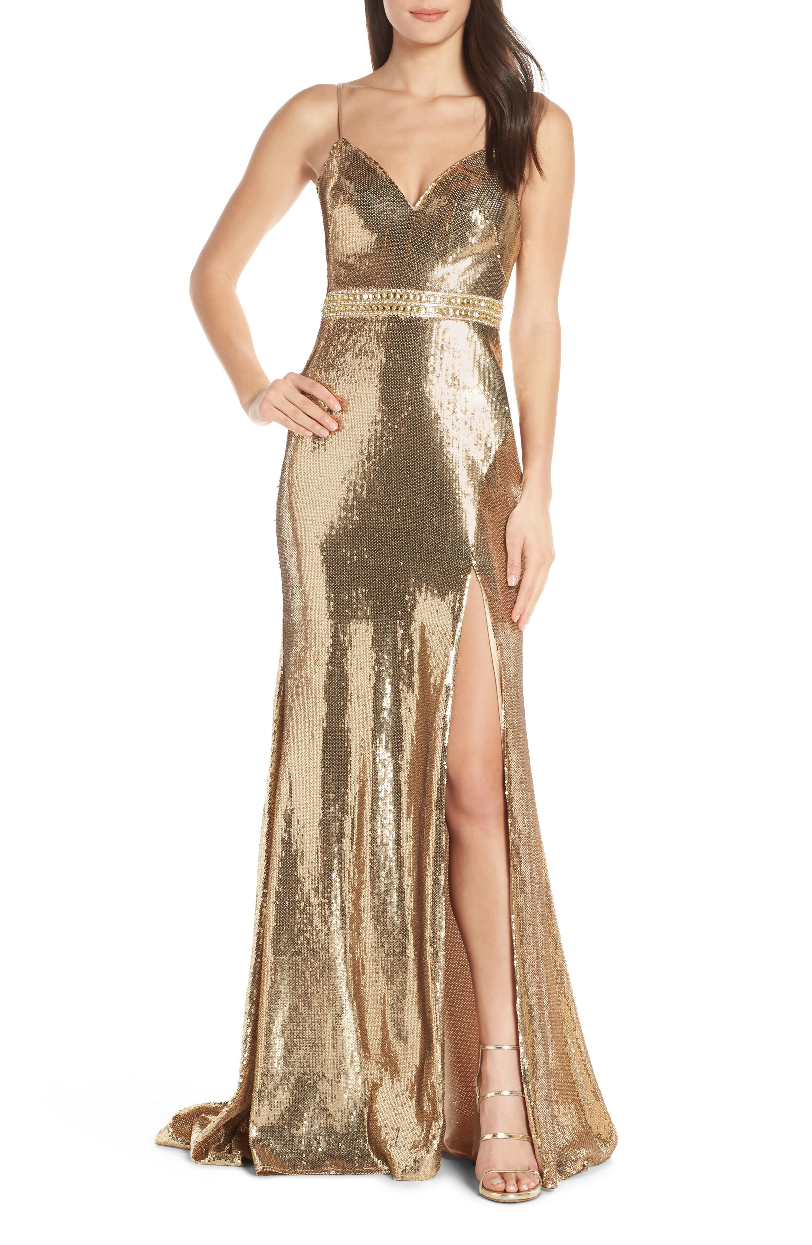 MAC Duggal Embellished Bodice Metallic Evening Dress, Yellow