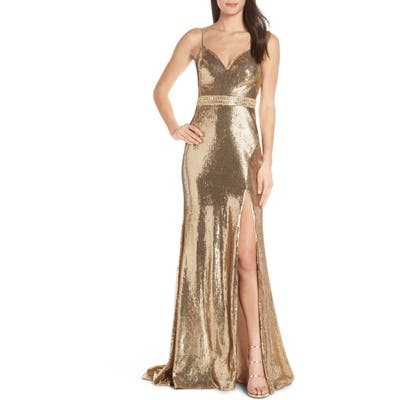 MAC Duggal Embellished Bodice Metallic Evening Dress, Yellow