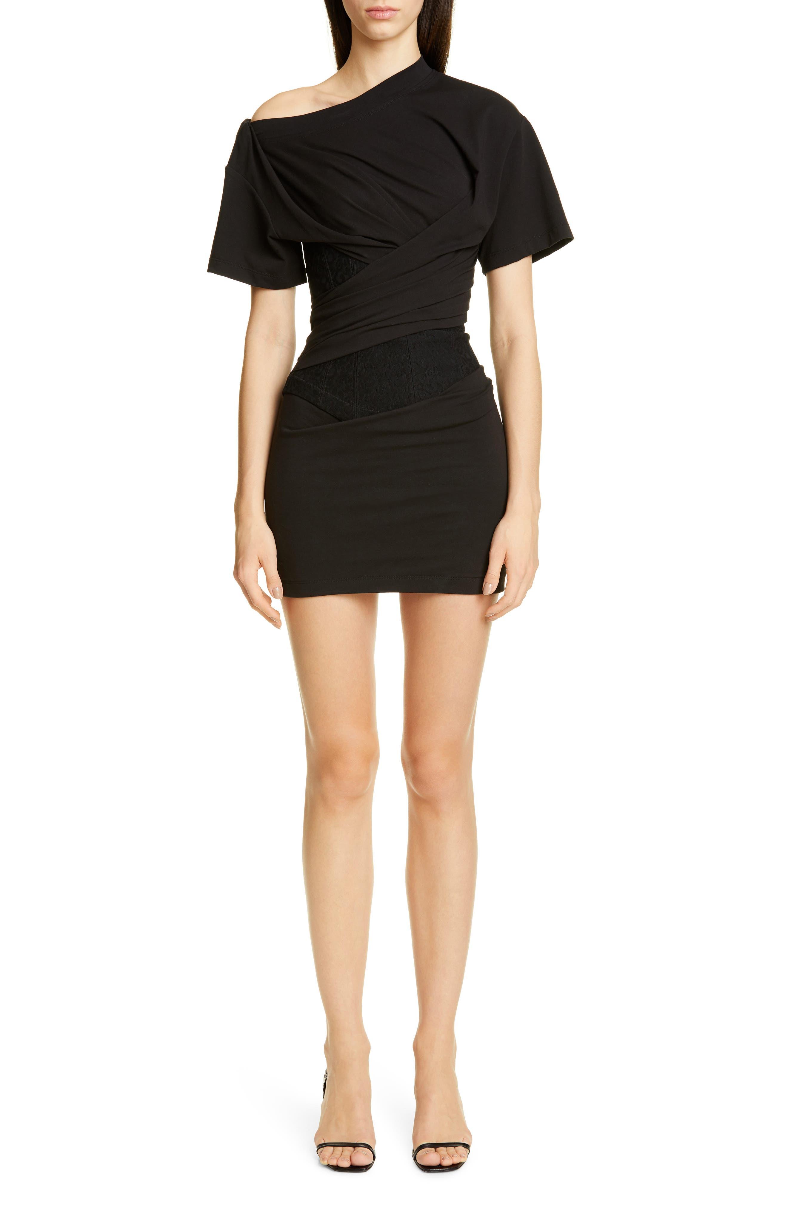 Alexander Wang Draped T-Shirt Bustier Minidress, Black