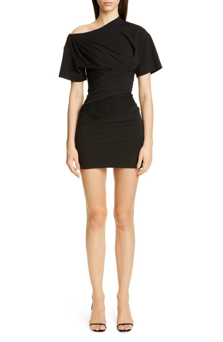 ALEXANDER WANG Draped T-Shirt Bustier Minidress, Main, color, BLACK