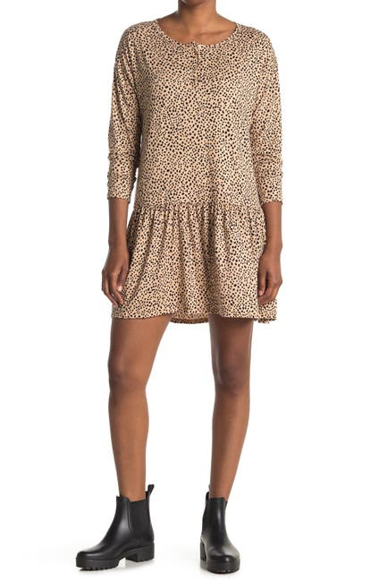 Image of Lush Leopard Print Drop Waist Dress