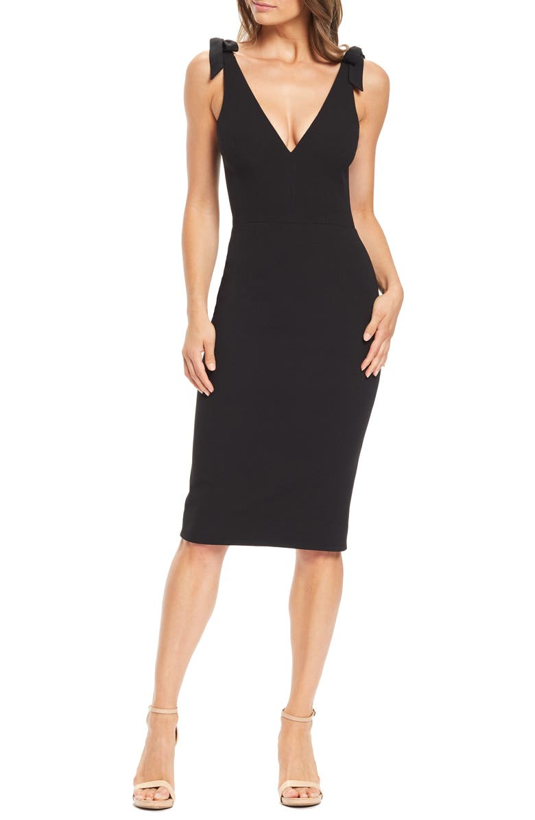 DRESS THE POPULATION Lita Tie Cocktail Dress, Main, color, 001