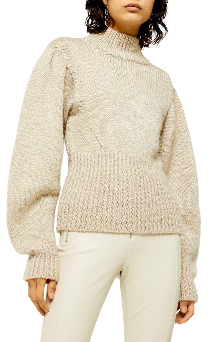 TOPSHOP Banana Sleeve Funnel Neck Sweater, Main, color, BEIGE