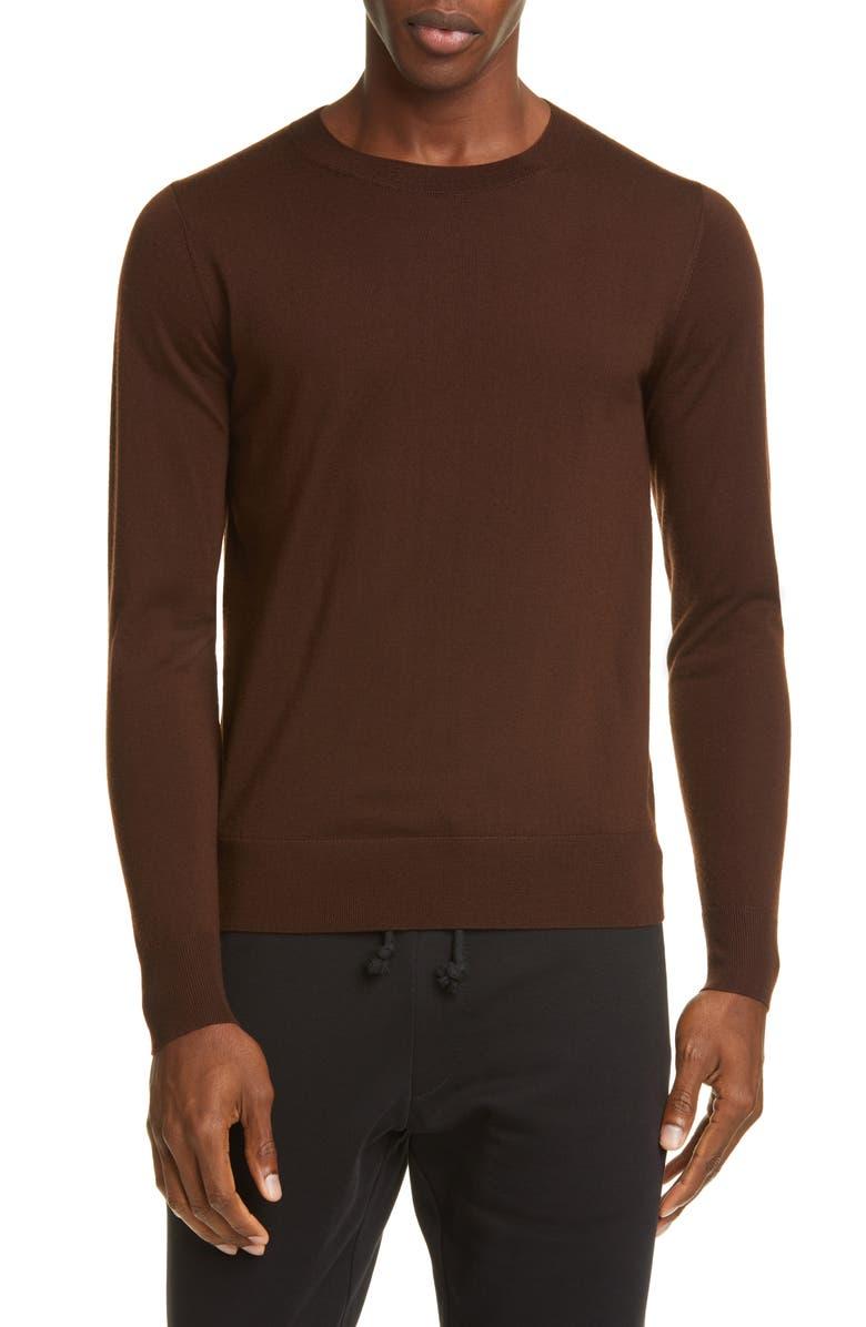 DRIES VAN NOTEN Merino Wool Sweater, Main, color, BROWN