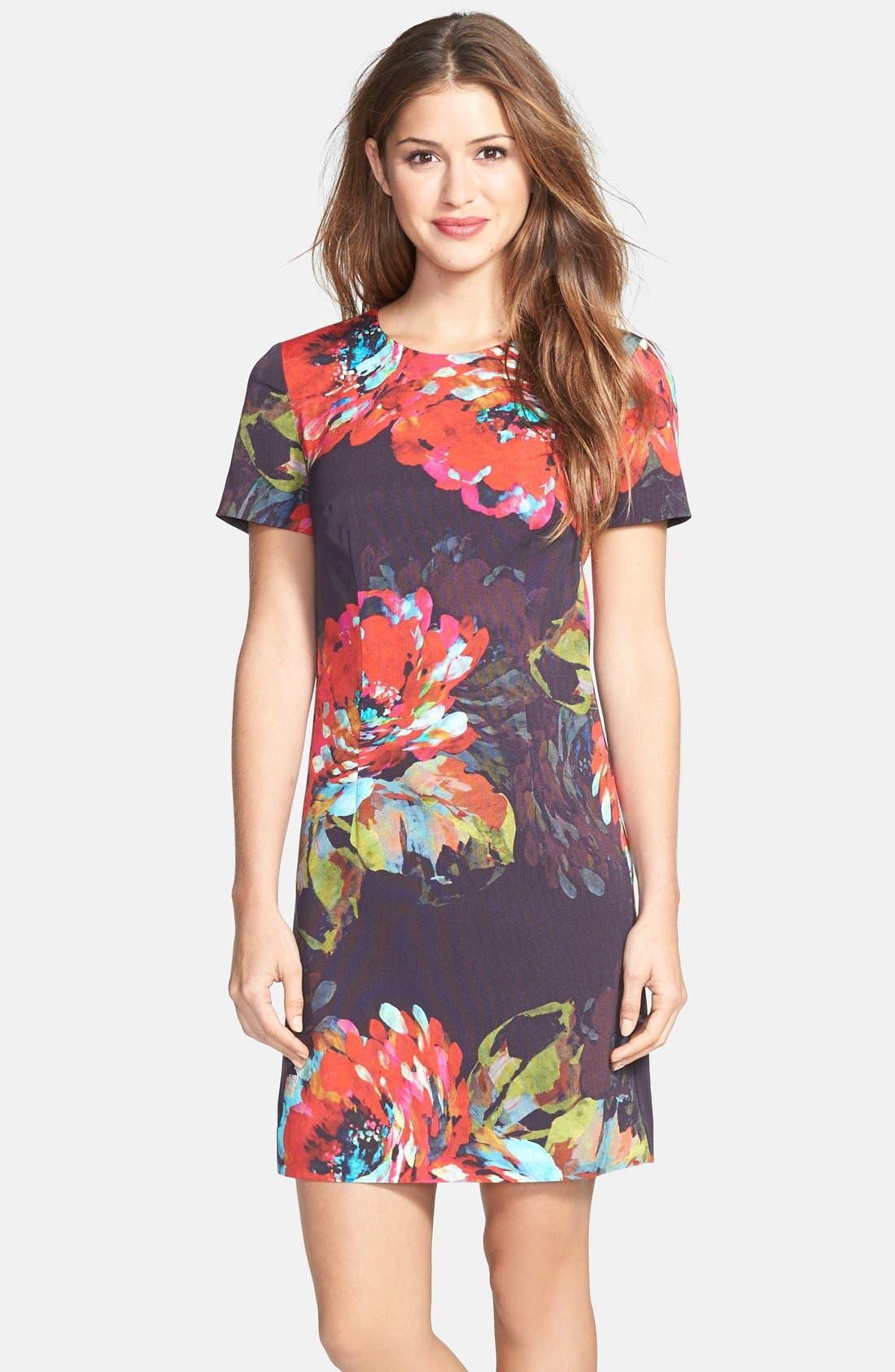 ,                             'Natasha' Flower Print Faille A-Line Dress,                             Main thumbnail 1, color,                             001