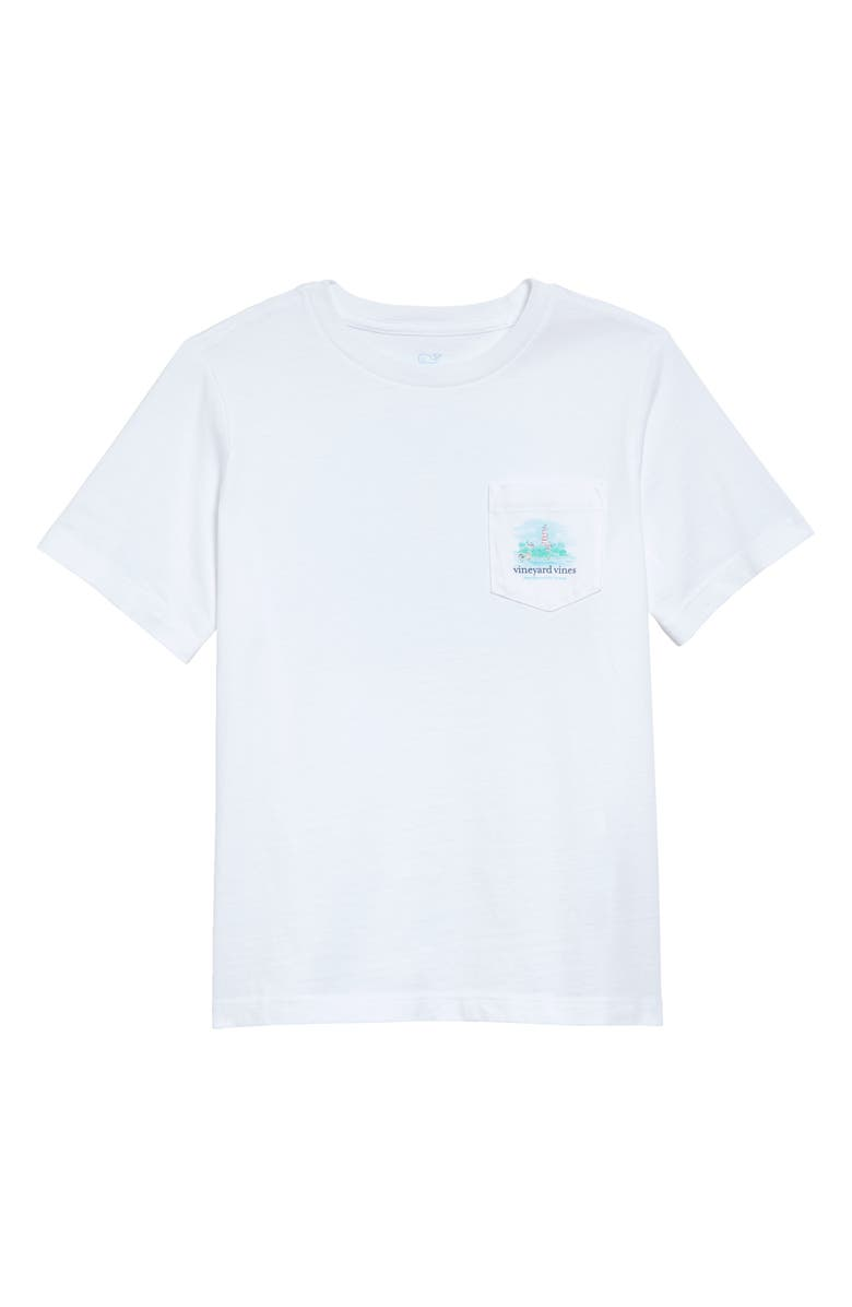 VINEYARD VINES Painted Lighthouse Pocket Graphic Tee, Main, color, WHITE CAP