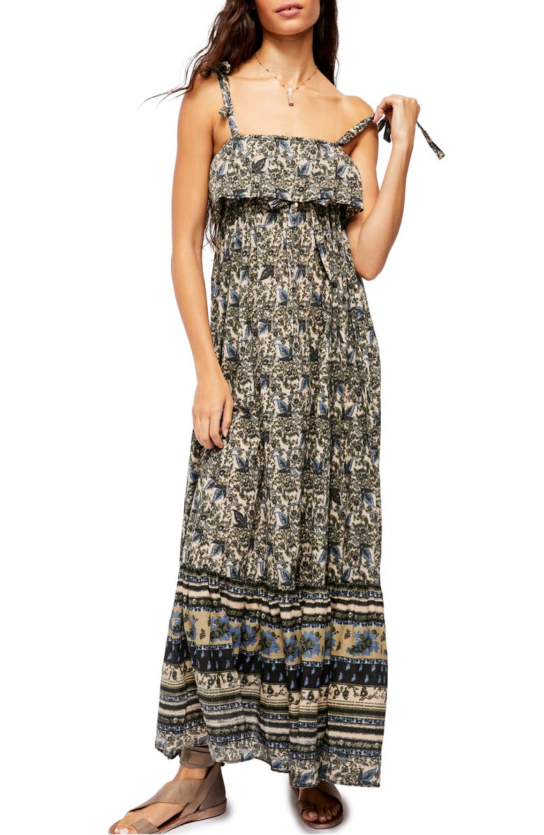FREE PEOPLE Tangier Tie Shoulder Maxi Dress, Main, color, NEUTRAL COMBO