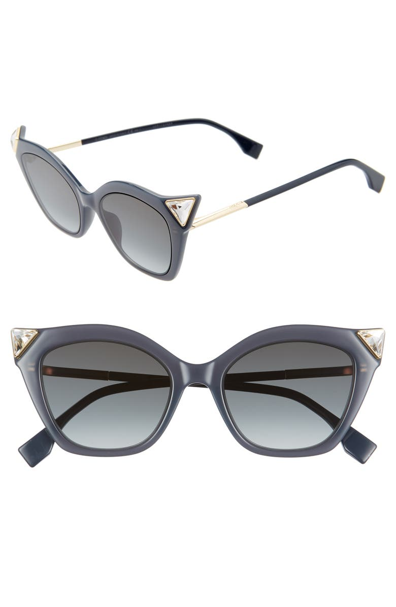 FENDI 52mm Gradient Cat Eye Sunglasses, Main, color, BLACK