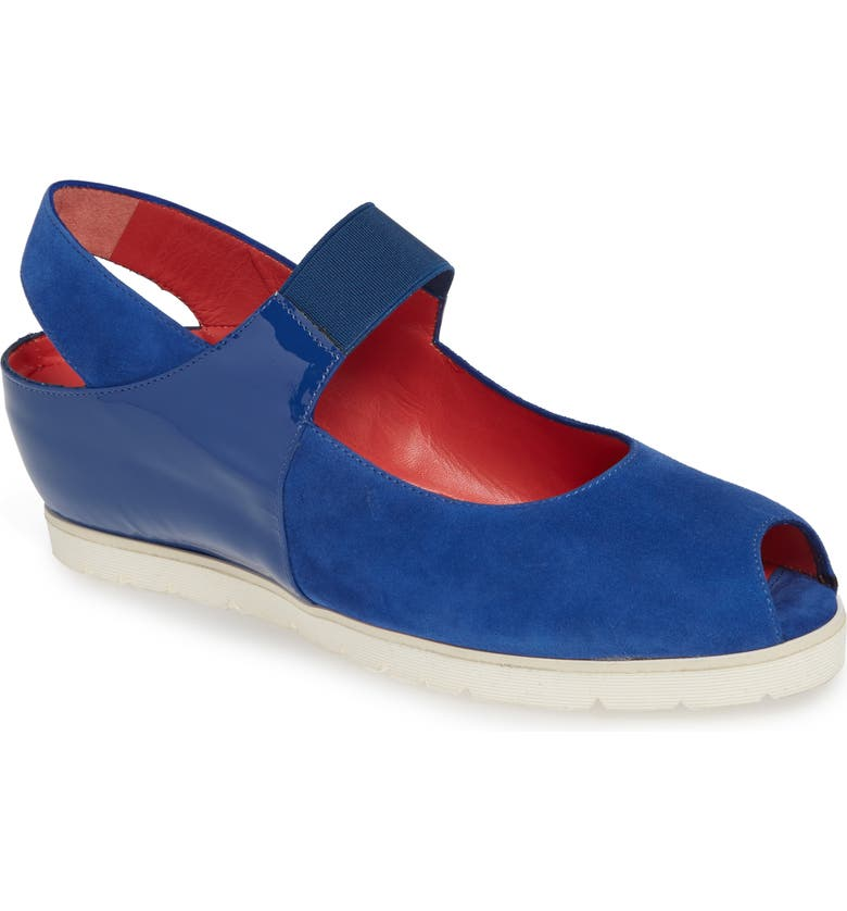 PAS DE ROUGE Silvia Mary Jane Sandal, Main, color, DENIM SUEDE/ PATENT