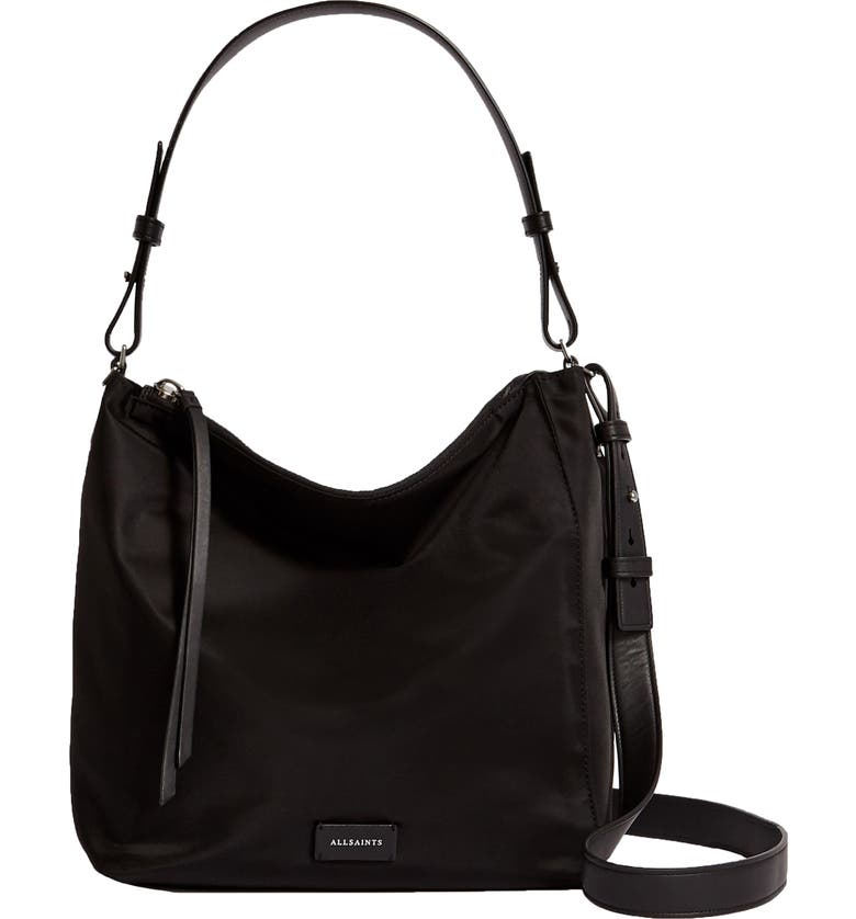ALLSAINTS Nilo Kita Nylon Shoulder Bag, Main, color, BLACK