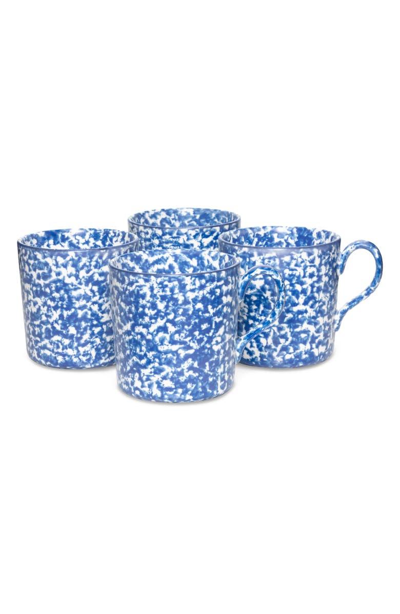 TORY BURCH Set of 4 Spongeware Coffee Mugs, Main, color, 403