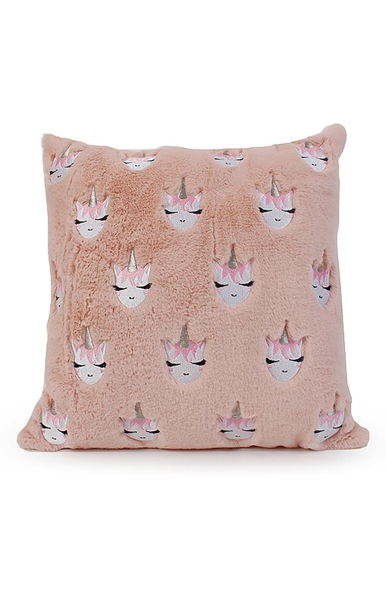 OMG Whimsical Unicorn Embroidered Pillow, Main, color, BLUSH